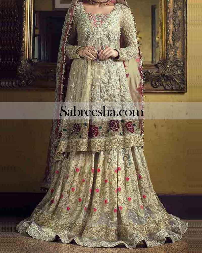 Golden Red Punjabi Embroidered Wedding Dress for Pakistani Girls ...